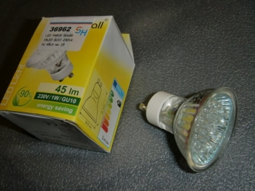 S+H 36962 LED PAR16 50x55mm 15LED Gu10 230VAC 1W 45lm WW 15'